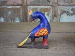 Hand painted clay peacock in blue